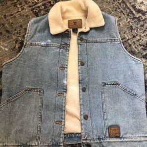 Ralph Lauren fleece lined denim vest!